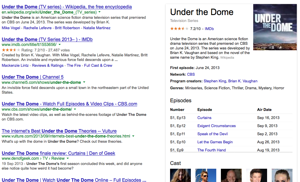TV Episode Info in Google Search Results